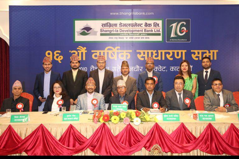 सांग्रिला डेभलपमेन्ट बैंक लिमिटेडको १२औं साधारणसभा सम्पन्न, प्रस्तावित लाभांश पारित