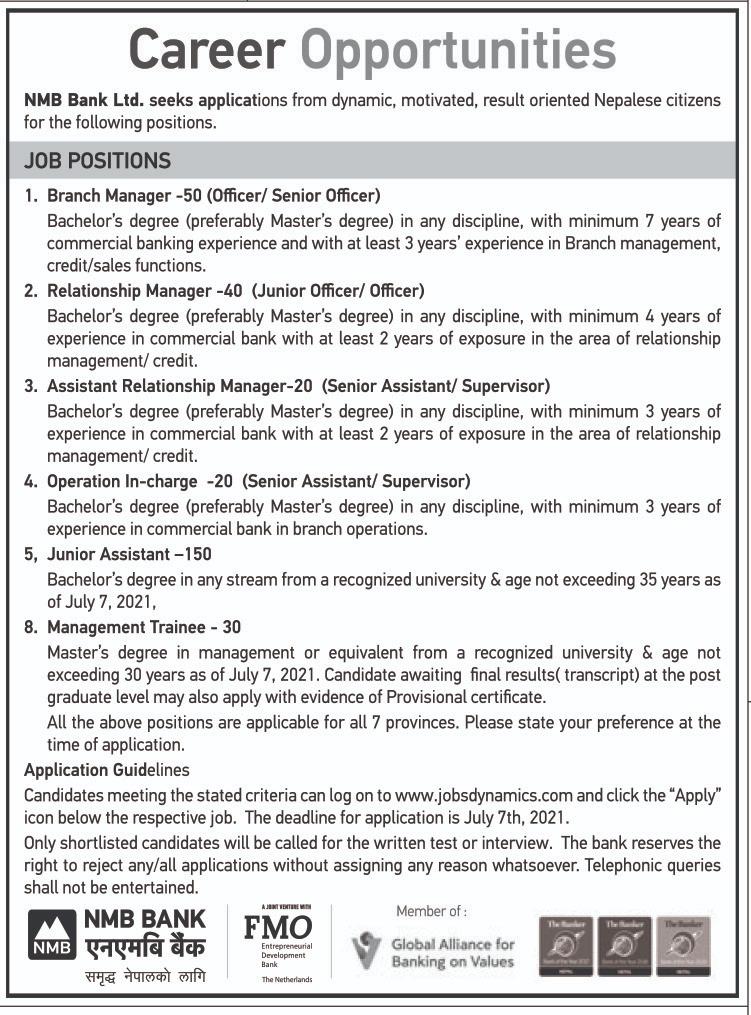 एनएमबि बैंकमा ३१० जनाका लागि रोजगारी खुल्यो, असार २३ गतेसम्म आवेदन दिईसक्नुपर्ने ! (भ्याकेन्सी नोटिससहित)