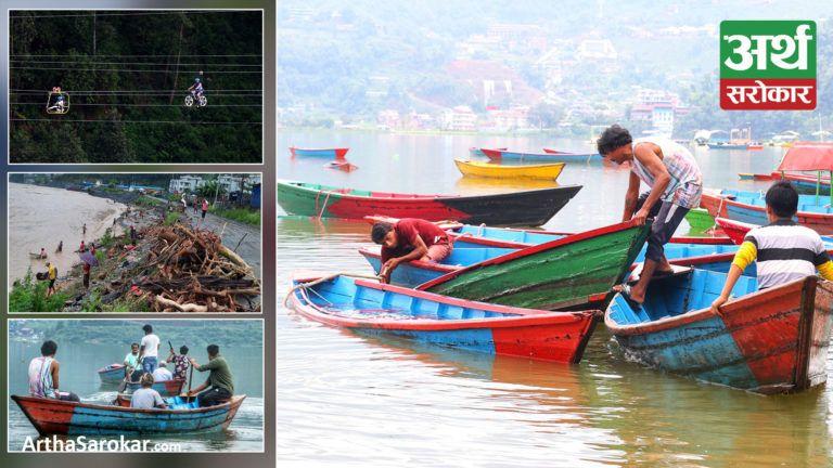 देश बोल्ने फोटो कथा : फेवातालमा डुबेका डुङ्गा निकाल्दै चालक, नदीले बगाएर ल्याएका दाउरा सङ्कलन गर्दै बेल्टारवासी