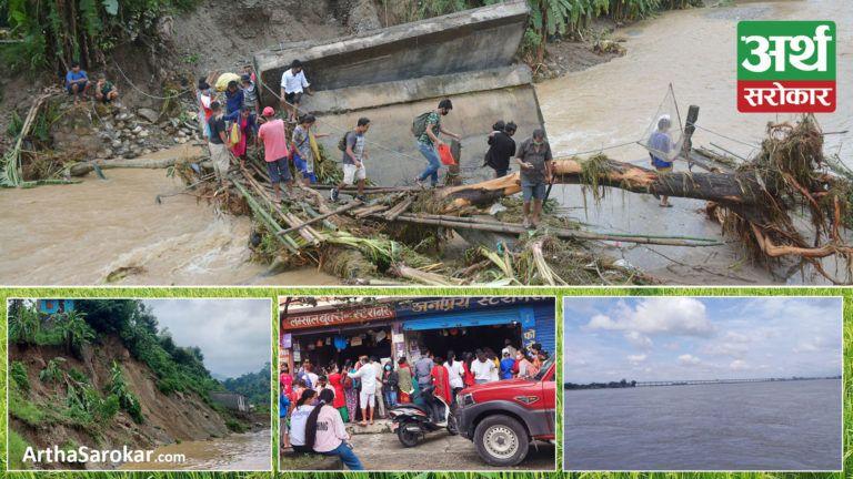 देश बोल्ने फोटो कथा : कोशी व्यारेजमा पनि बढ्यो पानीको बहाब, पुल भत्किएपछि जोखिमपूर्ण यात्रा गर्न बाध्य सर्वसाधारण